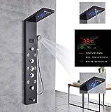 Pannello doccia LED di alta qualità in acciaio inox con display della temperatura e 8 getti idromassaggio Colore: nero