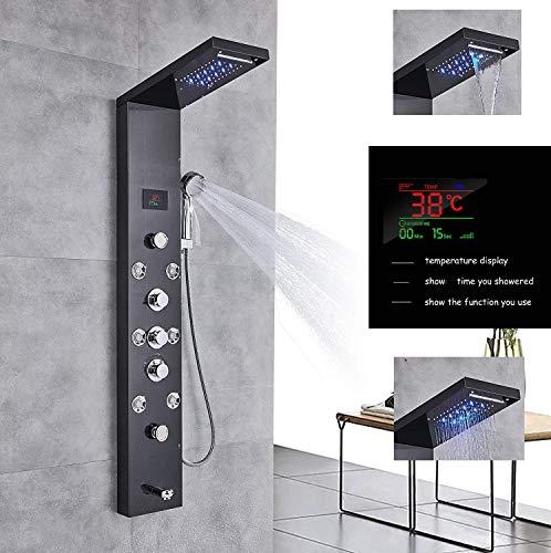 Jimmy Jet LED Duschpaneel aus rostfreiem Edelstahl mit Temperaturanzeige und 8 Massagedüsen Farbe: Schwarz