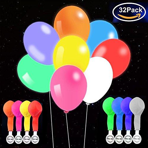 Leuchtballons LED 32 Stück Mischfarben Glow in The Dark Luftballons mit Blitzlichtern für Geburtstag, Party und Hochzeit Dekorationen, mit Luft oder Helium aufblasen