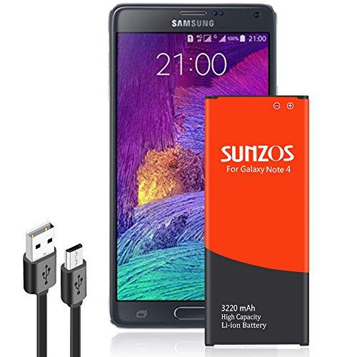 SUNZOS Akku für Samsung Galaxy Note 4 SM-N910F, SM-N910C Wie EB-BN910BBE (3220mAh)