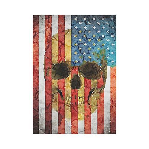 Flagge mit Schädel Kopf Polyester Garten Flagge Außen Banner 28 x 40 Zoll, Halloween Tag der Toten dekorative große Hausflaggen für Party Yard Home Decor ()