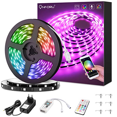 Onforu smart striscia led, 5m striscia led intelligente, striscia led smart rgb con telecomando, 5050 striscia led rgb wifi sincronizza musica, compatibile alexa, google home per giardino, bar, festa