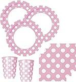 50 Teile Party Set Baby Rosa mit weißen Punkten für 16 Personen