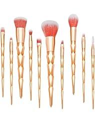 Qivange 10pcs Rose Or pinceaux de maquillage, Synthétique Licorne Kit de pinceaux maquillage