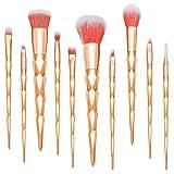 Qivange 10pcs cepillo de maquillaje, fabuloso Unicorn Concealer Foundation Eyeshadow pestaña cepillos cosméticos (oro rosa)