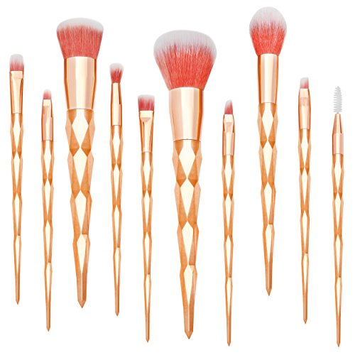Qivange 10pcs Rose Or pinceaux de maquillage, Synthétique Licorne Kit de pinceaux maquillage