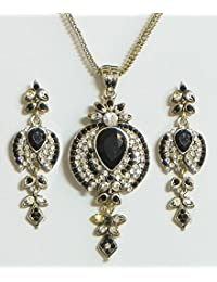 DollsofIndia Black And White Stone Studded Pendant With Chain And Earrings - Stone And Metal (EK72-mod) - Black