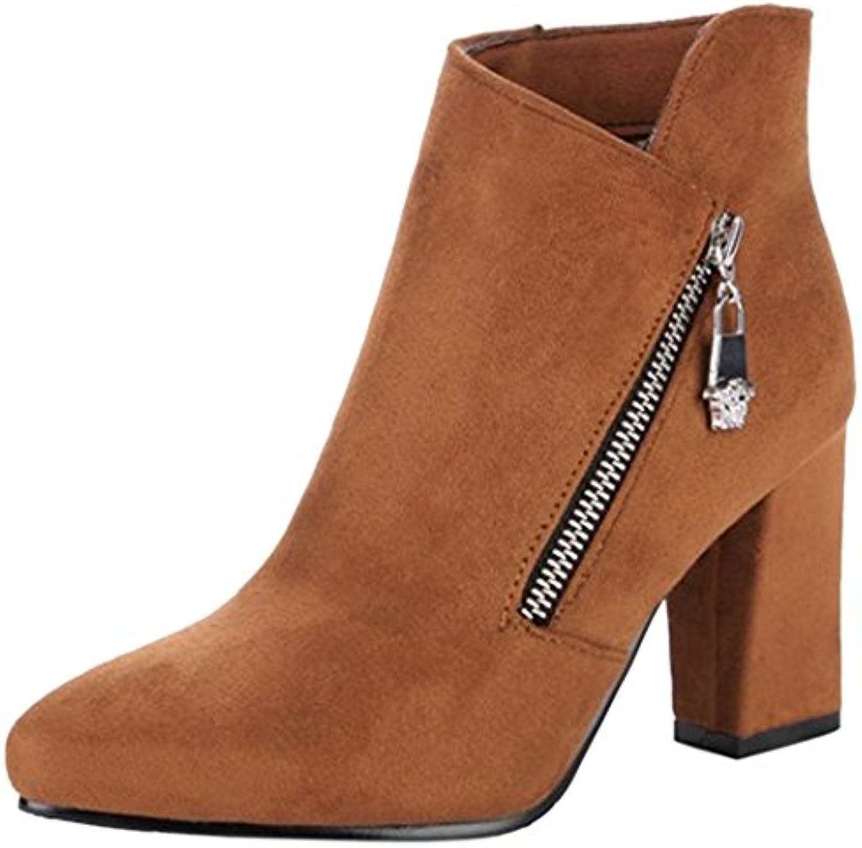 ce3ba26fc0b4 RAZAMAZA Women Fashion Pointed Toe Chunky Heel Heel Heel Ankle Booties with  Zipper B075XKV2LV Parent e03e14