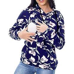 Longra Maternité Allaitement Sweatshirt Hiver Encapuchonné Imprimé Étoile Chemise Manches Longue Tank Tops Col Rond Crop Top Outwear Top Manteau Chemise Sweatshirt Haut Blouse (Bleu✿, L)