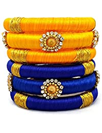 N K CreationsBangles Collection (Silk Thread Bangles For Women ,Color-Blue & Yellow,Size-2.4)
