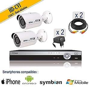 Nova ip - Kit vidéosurveillance 2 caméras tubes HDCVI 1 MP, IR 20 m