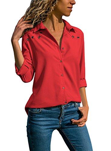 Aleumdr Bluse Damen Langarm hemdbluse V Ausschnitt Langarmshirt einfarbig Business mit Knopfleiste Hemd Oberteile Herbst und Sommer Revers Kragen- Gr. Medium (EU40-EU42), Rot