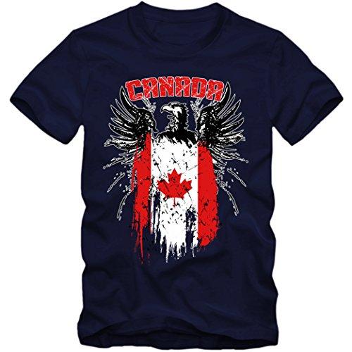 Canada Adler #2 Premium T-Shirt | Kanada | Flagge | Weißkopfseeadler | Herren | Shirt, Farbe:Dunkelblau (French Navy L190);Größe:XXL (Kanada-tag T-shirt)