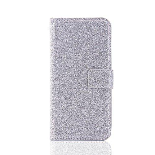 Cover per iPhone 7, Tpulling Custodia per iPhone 7 Case Cover Copertura della pelle di caso del cuoio di vibrazione del raccoglitore di Bling Glitter di Bling per il iPhone 7 4.7 pollici (Rose Gold) silver