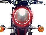 Universal Schwarz Metall 3 Auge LED Scheinwerfer für Motorrad Motorrad- mit integrierten Rot LED...