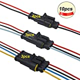FULARR 10 Kit Profesional Coche Impermeable Cable Eléctrico Conector, Coche Impermeable Rápido Enchufe Terminal, con Cable Eléctrico, para Coche Moto Camión (2 Pin 4 Kit + 3 Pin 3 Kit + 4 Pin 3 Kit)