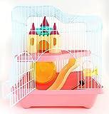 BPS® Hamster-Käfig mit Treppe, Tunnel und Häuschen, besonders hohe Qualität, zufällige Farbe, 28x 21x 31cm BPS-1340., Rosa