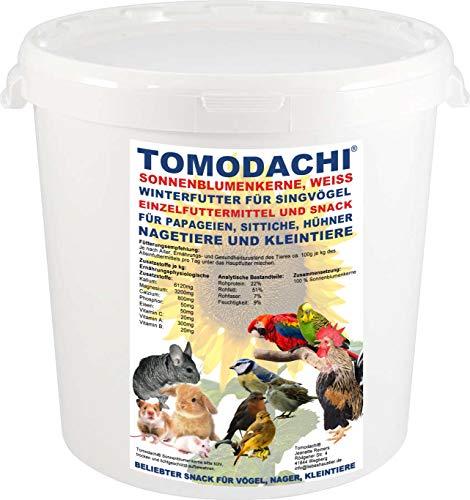 Tomodachi Sonnenblumenkerne Nagerfutter, Nagersnack, Kaninchen, Naturprodukt, Ergänzungsfutter Verdauung, Stoffwechsel, Immunsystem, ungesättigte Fettsäuren weiße Sonnenblumenkerne 1kg Eimer