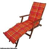 Unbekannt Deckchair Auflage Kariert Orange Liege Polster Polyester Baumwolle Garten Möbel Kissen Harms 910185