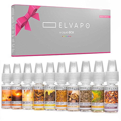 10 x 10ml Elvapo Premium Plus E-LIQUID-BOX - mit extra starkem Geschmack | Tabak-Set: American Blend, Royal, Virginia Blend, Cuba Breeze, Samsoun Orient, Golden Spirit, Honey Sunset, Brasil, del Sol, Sweet Orient | Probierset für E-Zigaretten und E-Shishas | 0mg (ohne Nikotin) | Made in Germany!