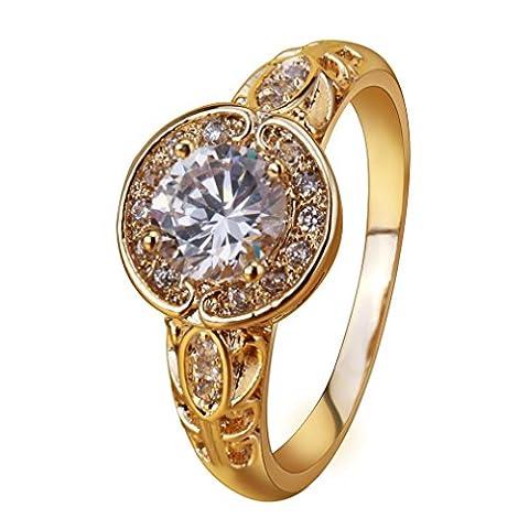YAZILIND Temperament Gold überzogen Blätter Swirl Vine Kranz Zirkonia Ring für Frauen