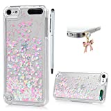 BADALink iPod Touch 5 Case,iPod Touch 6 Case, Dynamic Flowing Liquid Glitter Sparkly Bling Glitter Fantasy Shiny Case Cover Transparent Plastic 3D Glitter Quicksand Liquid Case (Pink)