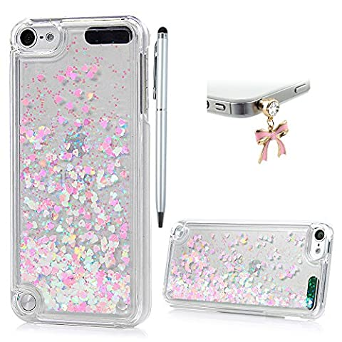 iPod Touch 5 Case,iPod Touch 6 Case,Badalink Dynamic Flowing Liquid Glitter Sparkly Bling Glitter Fantasy Shiny Case Cover Transparent Plastic 3D Glitter Quicksand Liquid Case for iPod Touch 5/iPod Touch 6(Pink)
