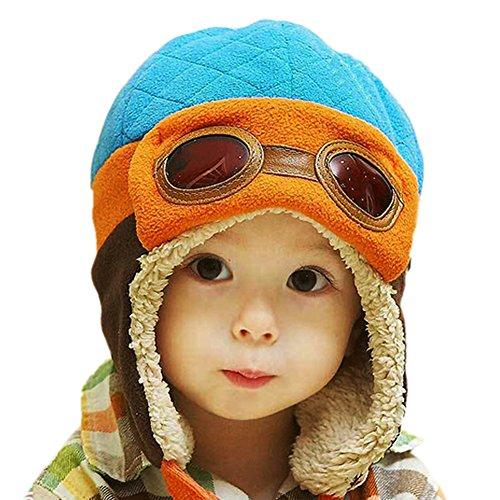 PanDaDa Baby Jungen Hüte Winter Warm Cap Hut Beanie Pilot Aviator Häkelarbeit (Aviator Hut)