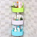 Orpio 2PCS Bathroom Kitchen Storage Organize Shelf Rack Triangle Shower Corner Caddy Basket with Wall Mounted Suction Cup.