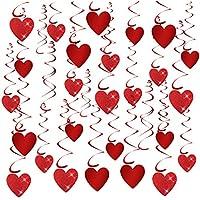 TUPARKA 32 PZ San Valentino Glitter Cuore Ricciolo Appeso Decorazione per Decorazioni per Feste di Nozze Articoli per Feste di San Valentino