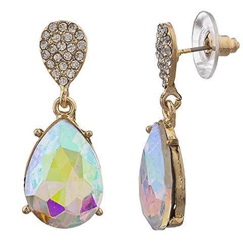 Lux Accessoires Doré Pave Cristal irisé en forme de larme Boucles d