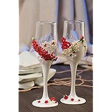 Copas para novios hechas a mano originales 2 piezas bonitas con flores estilosas