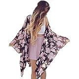 Goodsatar Frauen Boho Floral Print Chiffon Loose Schal Kimono Strickjacke Top Strand vertuschen Bluse (S, Floral)