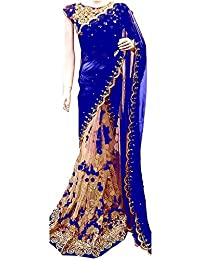 Nena Fashion Branded Women's Beautiful Georgette Saree With Blouse Piece - Blue