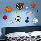 Longless basket-ball de football dessin animé de volley-ball autocollants mur de balle chambre d'enfants sport stickers muraux décoratifs