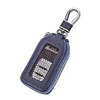 Car KeyChain Cover Premium Leather Key Chain Coin Holder Keyring Hook Wallet Zipper Case Remote Smart Key Fob Alarm Security (Navy Blue)