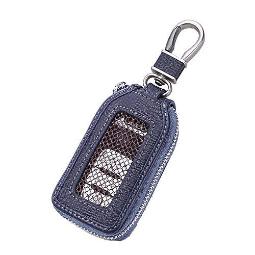 Auto Schlüssel Case, echtes Leder Auto Smart Key kette Coin Holder Metall Haken und Schlüsselanhänger Wallet Reißverschluss Tasche für Auto Remote Schlüsselanhänger Universal, schwarz (Navy Blue) (Logo Wallet Chain)