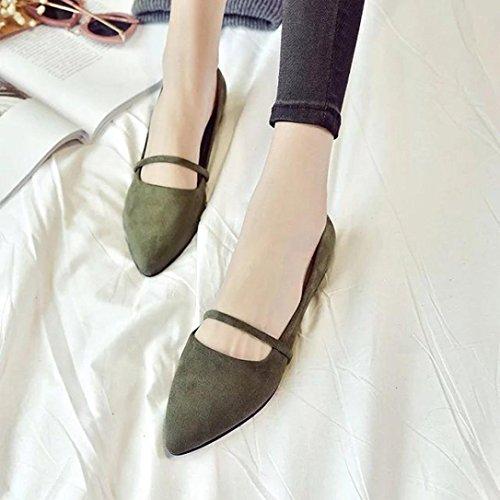 Bescita Mode Frauen lässig bequeme Spitzen Zehen Rubber Frauen flache Schuh Wohnungen Grün