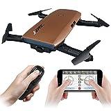JJR/C H47 Faltbare Selfie Drohne Kamera, RC Drohne mit Live Übertragung WIFI FPV Handy APP-Steuerung G-Sensor Steuerung, automatische Schwebe 3D Flip Stunt Headless Modus, geeignet für alle Stufen-Piloten, 720P HD Kamera, mit Transport Case, Schwarz/Gold