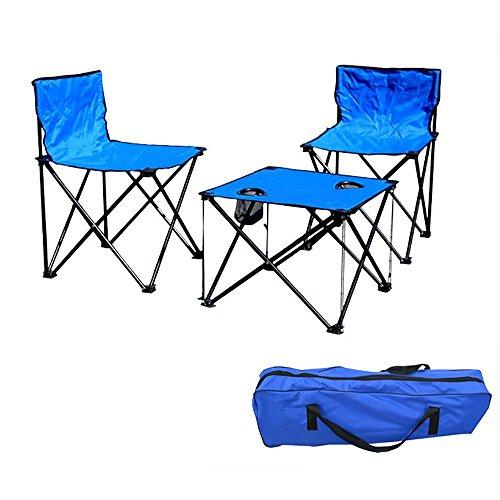 UltraFire-Blu 2Posti Pieghevole Pesca Sedia da campeggio Tavolino con portabicchiere e borsa per il