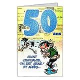 Gaston Lagaffe GLCT6026 Bon Anniversaire 50 ans Homme Femme avec Enveloppe Illustrée...