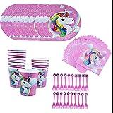 Amycute 80 pcs 20 niños Vajilla Diseño Unicornio
