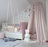 Betthimmel Baldachin aus Baumwolle Leinwand Deko,Bett-Überdachung für Baby-Kind-zelte aus Cotton Canvas,als Mückenschutz Moskitonetz Insekten-Malaria Schutz,Hohe 240cm (Rosa)