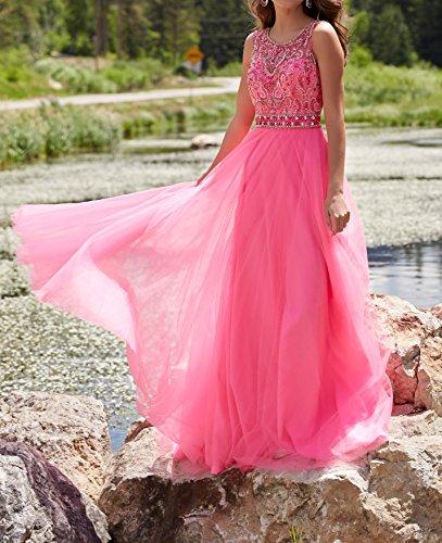 Promworld Damen Kniel?nge V Hals Mutter der Braut Kleid Watermelon