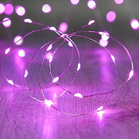 Guirnalda de 20 micro LEDs color rosa de pilas de Lights4fun