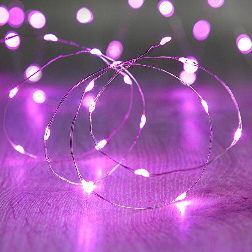 Lights4fun LED Draht Micro Lichterkette rosa Batteriebetrieb, 20 Stück