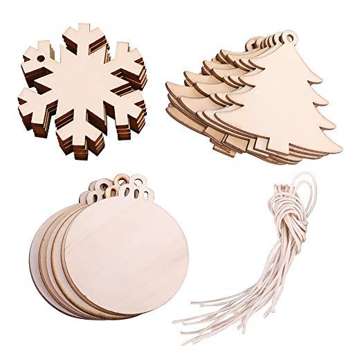 Mlj albero di natale in legno da appendere ornamenti decorativi a forma di fiocco di neve pupazzo di neve decorazione per natale mixed pattern 30 pcs