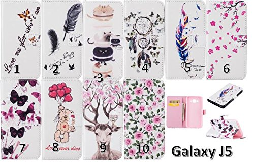 PU Coque Cuir Pour Samsung Galaxy J5(2015), Fermeture Aimantée fente pour carte Wallet de Motif Imprimé Étui Housse en Cuir Ultra-mince Avec La Fonction Stand Pour Samsung Galaxy J5(2015) +Bouchons de poussière (1WW)