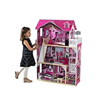 KidKraft 65093 Amelia Wooden Dolls House with Furniture and Accessories Included, 3 Storey Play Set for 30 cm/12 Inch Dolls
