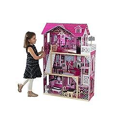 Idea Regalo - Kidkraft 65093 Casa delle Bambole in Legno Amelia per Bambole di 30 Cm con 15 Accessori Inclusi e 3 Livelli di Gioco, Alto 120,9cm, 3, 8 anni